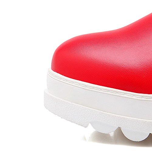 VogueZone009 Damen Ziehen Auf Rund Zehe Niedriger Absatz Pu Leder Mittler Kalb Stiefel Rot