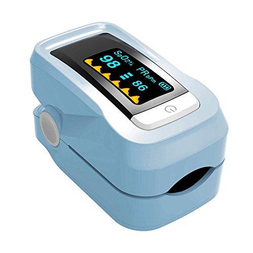 Teepao Pulse portatile digitale da dito, dita per bambini per Pediatric Pulse Oximeter precisa della frequenza cardiaca monitor con cordino e sacchetto per bambini adulti Blue
