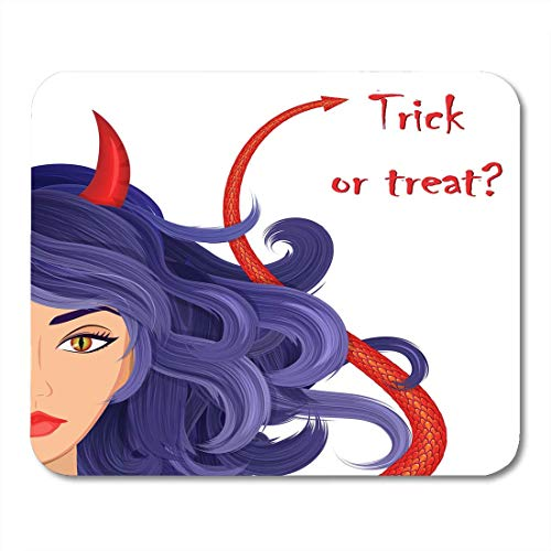 (Mouse Pads Halloween Beautiful Witch with Red Horns Reptile's Eyes and Devil's Tail Sexy Glamorous Devil Goth Mouse Pad for notebooks,Desktop Computers mats 7.08 (L)x 8.66 (W) inch Office Supplies)