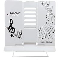 LY portatile in metallo pieghevole lettura supporto regolabile Desktop Musica ricettario supporto leggio per ricettario, metallo, Bianco, taglia unica