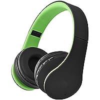 SUAVER Over-oreja Bluetooth Auriculares Estéreo, Plegable Auriculares Inalámbrico Diadema con Micrófono Transmisión de música para Smart Phones Tablet (Verde)