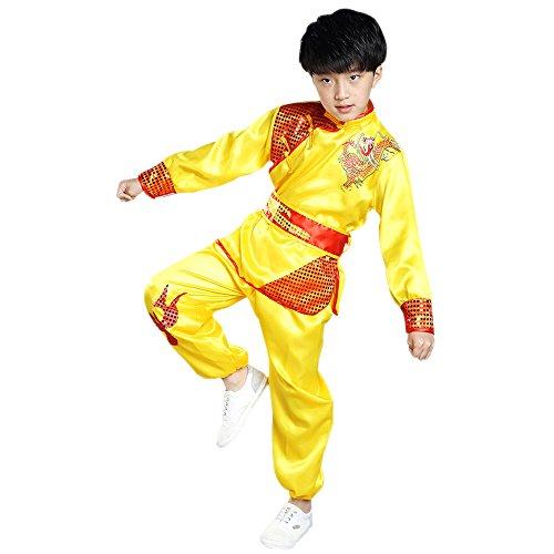 BOZEVON Unisex Kinder Mädchen Junge Langarm Kung Fu Tai Chi Anzug Shaolin Kampfsportanzug Darbietungen Tanzkostüme, Gelb