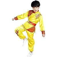 BOZEVON Unisex Niños Mangas Largas Dragón Traje de Artes Marciales Kung Fu Uniformes Ropa De Tai Chi Disfraces, Amarillo