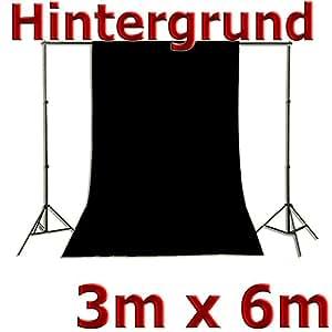 Fotohintergrund Hintergrund für Fotostudio Baumwolle schwarz 3x6m, 300x600cm