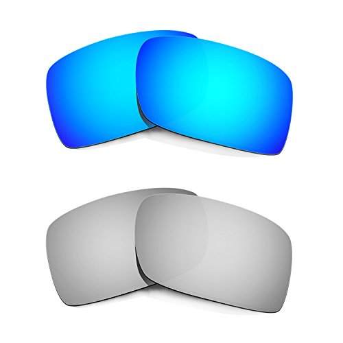 HKUCO Plus Mens Replacement Lenses For Oakley Gascan Blue/Titanium Sunglasses