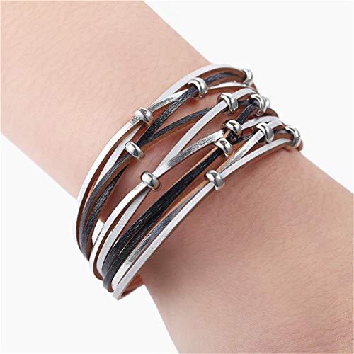 WANZIJING Multilayer Armband, Mode Günstige Bead Charm Armband Silber Verschluss Leder Armreif für Frauen Männer Party Schmuck Geschenk,C