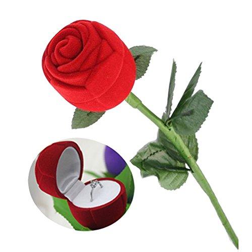 LAMEIDA Schmuckschatulle Ring-Box Schmuck-Etui für Ring Schachtel Case Rose geformte romantische Blumen Hochzeit Ornamente Geschenk-Verpackung (Western-stil Hochzeit Ringe)
