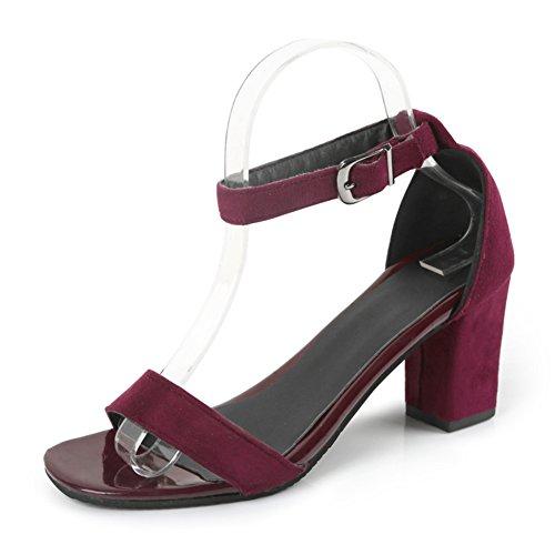La version coréenne de chaussures de femmes minces/Une boucle sandales/Avec des chaussures talons chunky/sandales d'été polyvalent B