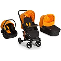 Hauck Miami 4S Trio Set Travel System, from Birth, Orange (Car Seat, Carrycot and Raincover)