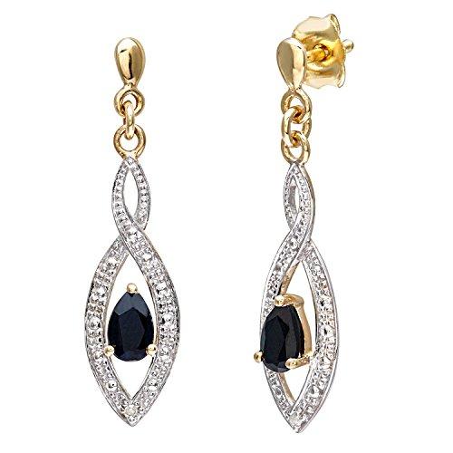 Naava Boucles d'oreilles Femme - 9 carats 375/1000 - avec 4 Diamants et Saph