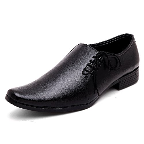 AXONZA Men's black Faux leather formal shoes-UK/India 7