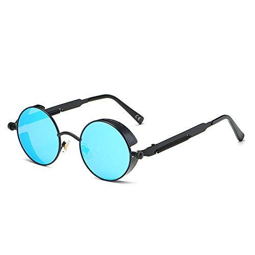 AMZTM Kleine Rund Verspiegelt Linsen Polarisiert Punk Sonnenbrille für Damen und Herren (Schwarz Rahmen und Eisblau Linse, 48)