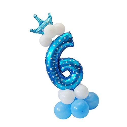 Sharplace Ballon Zahl 0-9 in Blau - Folienballons und Latexballons als Kinder Geschenk Geburtstag Party Dekoration - Nummer 6