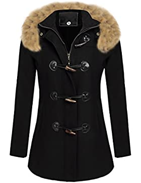 Soteer Damen Mantel Dufflecoat Kurzmantel mit Kapuze und Reißverschluss