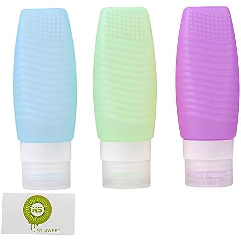 Kiwi Sweet de silicona viajes botella con Wave Y Lunares con relieve (Azul+ Verde+ Pruple,2.5 oz)