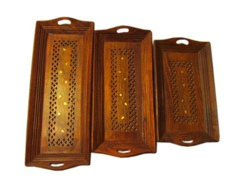 Set von 3Holz Serviertablett mit Griffen-Dekoratives Tablett Servieren Kaffee Platten für Partys | Restaurants | Osmanen Snack Tray Set