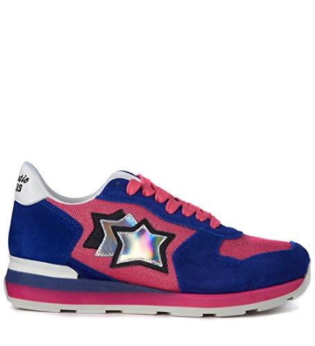 Sneaker Atlantic Stars Vega in suede blu e tessuto fucsia Rosa