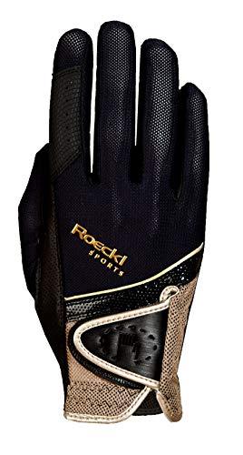 Roeckl Sports Handschuh Madrid, Unisex Reithandschuh, Schwarz/Gold, Größe 7,5