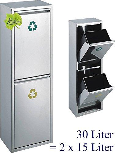Made for us 30 L Edelstahl Wand-Abfalleimer 2x15 L Mülleimer 2-Fach Mülltrennung 2er Müll-Trennsystem 30 Liter Abfallsammler zur Abfall-Trennung - 30x30 Fach