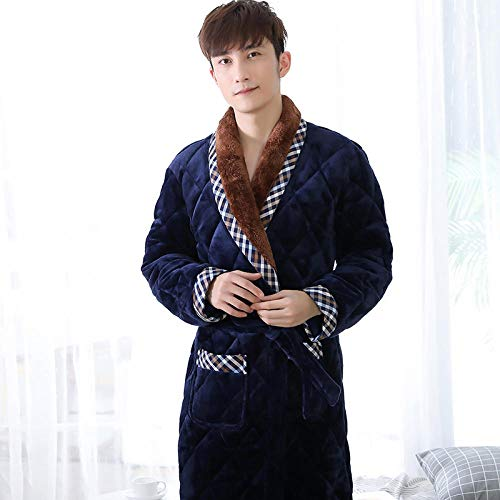 ZIXIYAWEI Bademantel Herren Winter Männer DREI Schichten Bademantel Dick Flanell Robe Nachtwäsche Plus Size Kimono Nähte Bademäntel Männlich Warm Lounge-B_XXL