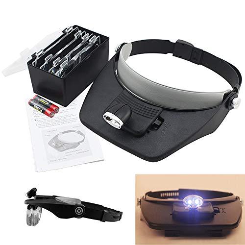 Hengda Lupenbrille mit Licht Kopfband Lupen Hände Frei Standlupe mit LED Brillenlupe für Hobby Denest Elektriker Juweliere Uhrmacher Nähen Handwerk und ältere Menschen (1.0X bis 3.5X)