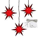 Dekohelden24 3er Set Weihnachtssterne aus Kunststoff in rot, inkl. LED Beleuchtung und 6h Timer, für Batteriebetrieb, für Innen und Außen geeignet. Maße je Stern L/B / H: 13,5 x 5,5 x 12 cm.