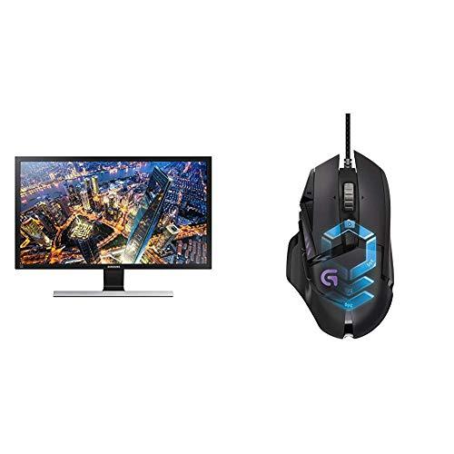 Samsung U28E590D 71,12 cm (28 Zoll) Monitor (HDMI, 1 ms Reaktionszeit, 60 Hz Aktualisierungsrate, 3840 x 2160 Pixel) schwarz/silber & LogitechG502 ProteusSpectrum Gaming-Maus schwarz