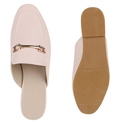 Elegante Damen Slipper Offene Pantoletten Flats Schuhe Rosa