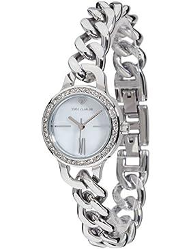 Yves Camani Damen-Armbanduhr Burgaudine mit silbernem Edelstahl-Gehäuse und weißem Zifferblatt aus Perlmutt. Elegante...