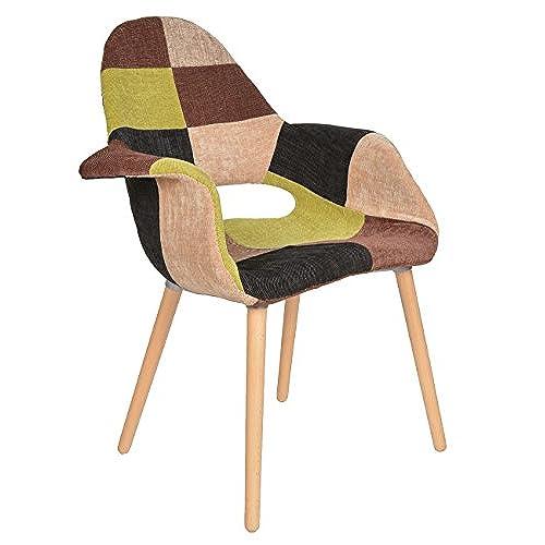Ts Ideen Design Chair Armchair U002750s Retro In Beechwood Patchwork Style  Fabric