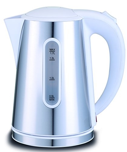 Hochwertiger Design Wasserkocher aus Edelstahl 1,7 Liter   Wassermangelsicherung   mit abnehmbarem Filter 1850-2200 Watt   Weiss