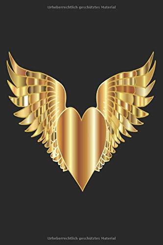 NOTIZBUCH: Kariertes Notizbuch oder Notizheft für Engel und Liebe Menschen !! Tolles Journal. Auf 120 weißen karierten Seiten eintragen was ihr wollt. ... Kariert 6x9 Format. Motiv herz Flügel Gold -