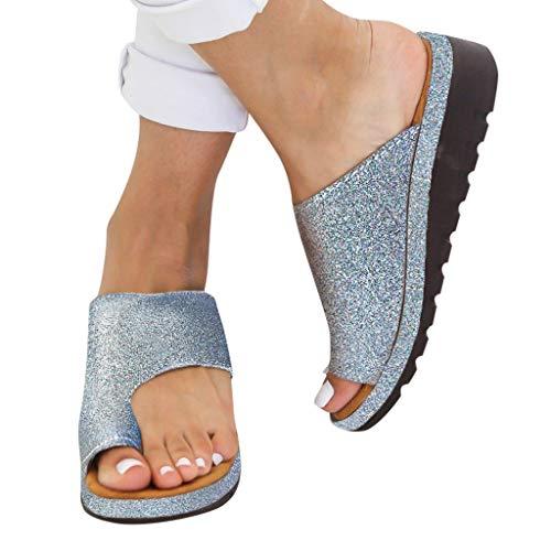 Sandalen Damen Sommer Strand Flip Flop Bequeme Plattform Sandaletten Frauen Elegante Flachen Schuhe Plateau Zehentrenner Hausschuhe Pantoletten Reise Schuhe Gr.35-43 - Baby-mädchen-spiel-yard
