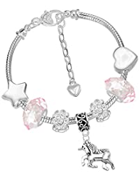 Girls Magical Unicorn Sparkly Pink Crystal Charm Bracelet with Gift Box Set