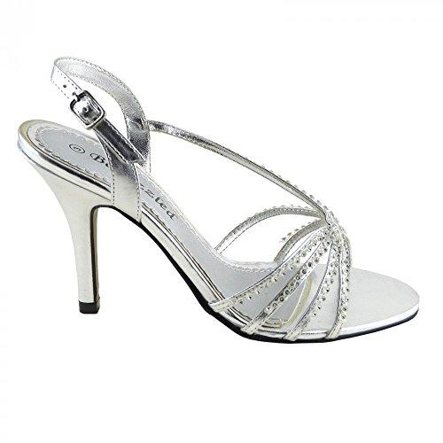 Kick Footwear - Donne delle prom nuziale di diamante sera tacchi alti scarpe sandali taglia Argento (argento)