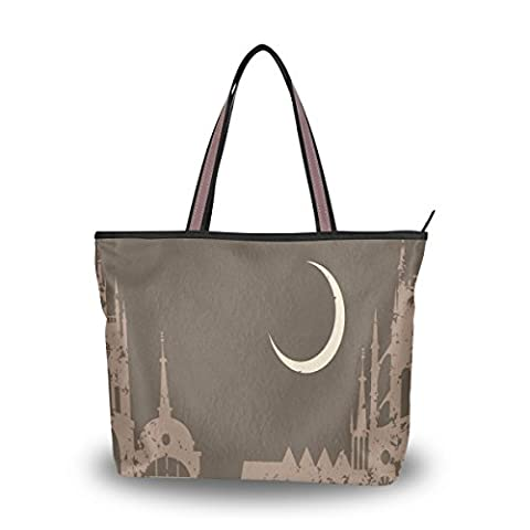 UHONEY Extra Large Handbags for Women,Vintage Night City Islamic Architecture,Ladies Fashion Design Lightweight Shoulder Tote Bag