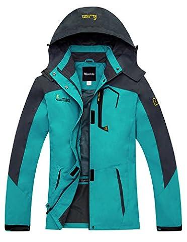 Wantdo Women's Outdoor Sports Hooded Windproof Waterproof Rain Jacket Pale Blue XX-Large