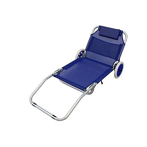 Spiaggina carrello sdraio mare pieghevole textilene blu con cuscino per campeggio spiaggia piscina giardino