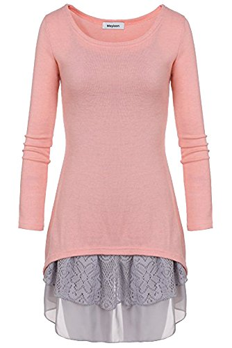 Doukia Mode Damen Strickkleider Kleidung Damenbekleidung Oberteile (X-Large, Rosa) (Baumwolle Shirt Kleid Rosa)