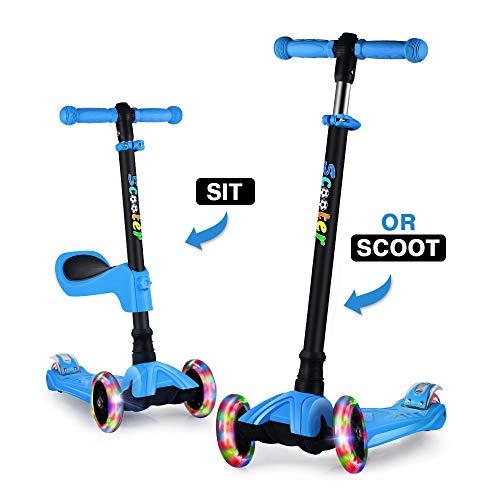 GOOGO Monopattino a Tre Ruote per Bambini con Sedile età 3-12 Anni Kick 3 Ruote Scooter con Ruote a LED, Altezza Regolabile per Bambini Ragazzi Ragazze Scooter Sedile Rimovibile (Blu)