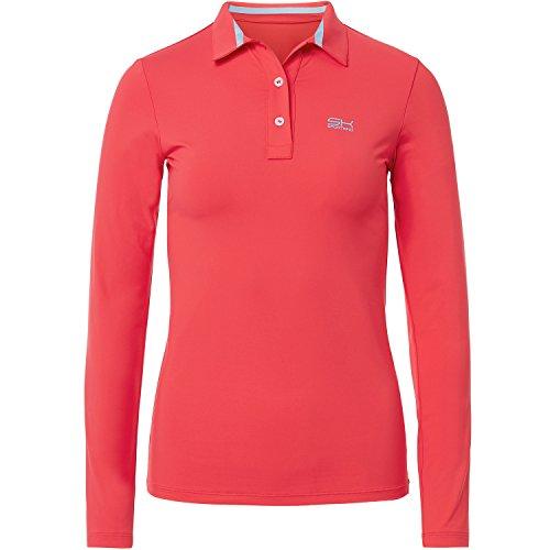 Sportkind Mädchen & Damen Tennis / Golf / Sport Langarm Poloshirt, pfirsich, Gr. S (Damen Golf Polos)