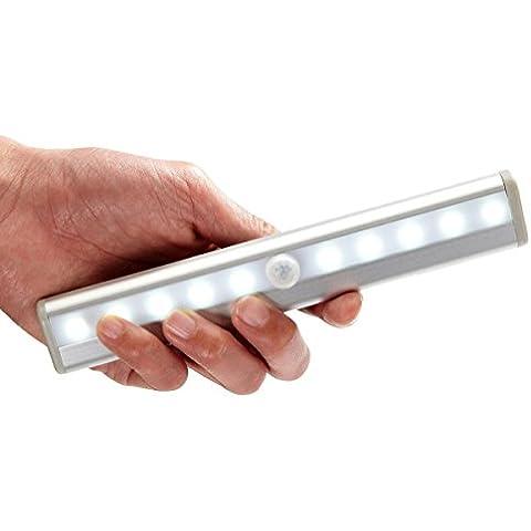 UVISTAR Concha de Aluminio de 10 LED PIR Motion Sebsor Luces de Batería Inalámbrico Operado con Sensor de Movimiento Gabinete Armario Noche de luz LED / Escaleras luz Bar con Banda Portátil Magnética - Plata [Clase de eficiencia energética A++](batería