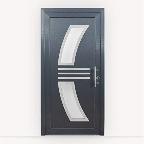 HORI® Haustür Monaco I Kunststoff Haustüre mit Glaseinsatz I Anthrazit (Innen Weiß) I Größe 2100 x 1100 mm I DIN rechts