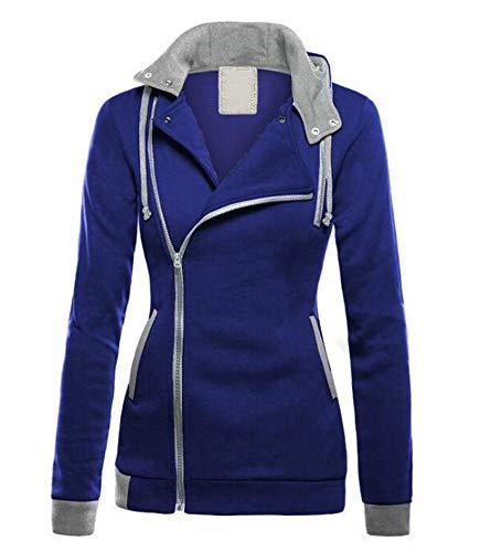 Keephen Frauen Diagonal Reißverschluss Color Stitching Hoodie Pullover Lässige Warme Tops Jumper (Aeropostale Hoodies Frauen)