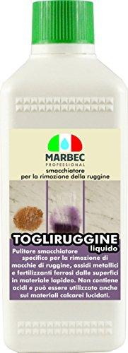 Marbec - TOGLIRUGGINE Liquido 500 ML | Smacchiatore specifico per la rimozione di Macchie di ruggine, ossidi Metallici e fertilizzanti Ferrosi da Pavimenti e Rivestimenti