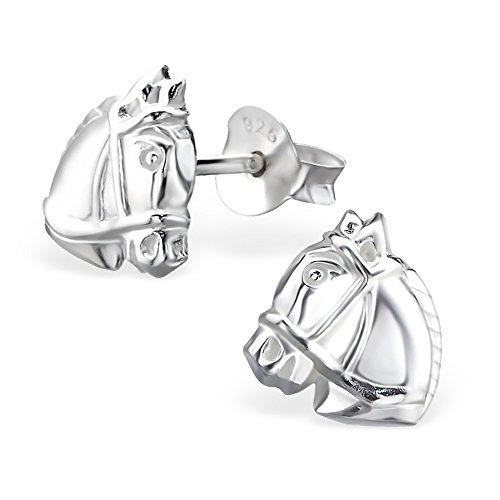 925 Silber Pferde Kopf Ohrringe von Monkimau, Kinder-Schmuck, Sterling Silber, Damen, Frauen, Mädchen-Ohrstecker (Pferd Person 2 Kostüme)