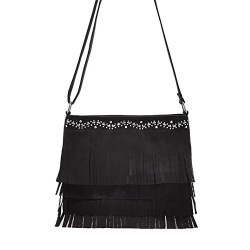 Mefly Einfache Frühling Sommer Quaste Satchel Bag Black