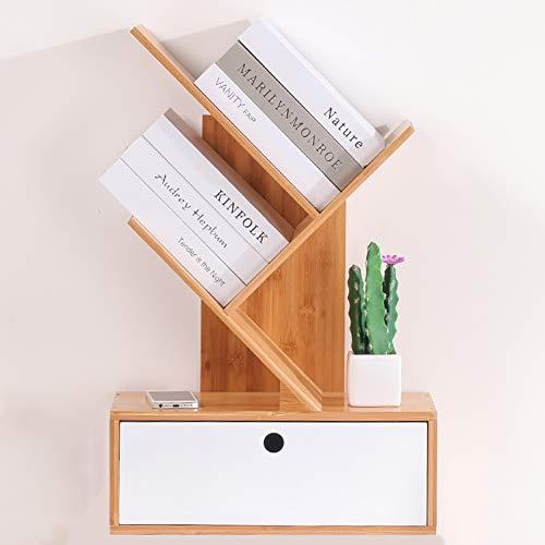 ZXY Bambus Baum Bücherregal,Desktop 2-Tier Mit schublade Lagerung-Rack Moderne Wirtschaftlichen Display-Rack Veranstalter Für CDs und bücher-A 40x20x62cm(16x8x24) -