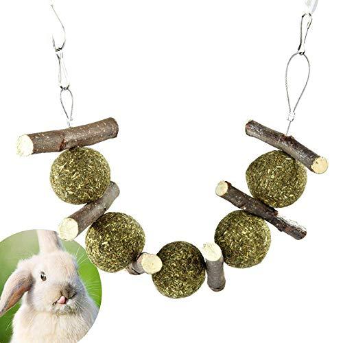 Honey MoMo Kauspielzeug für kleine Haustiere, Kaninchen, Zahnreinigung, Apfelstäbchen, Gras, Heuball, Kauspielzeug - Holzfarbe