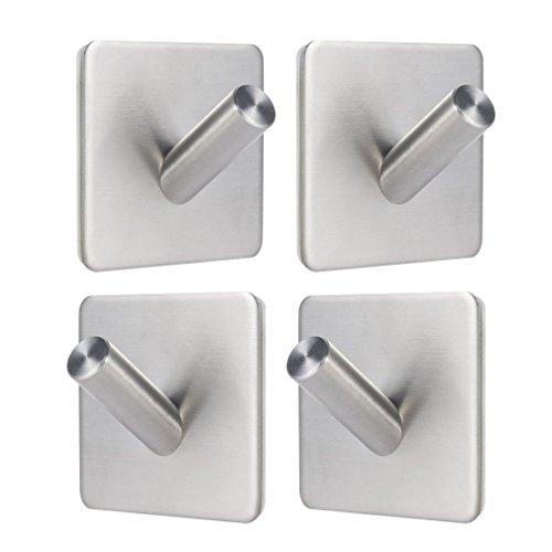 Gancho de Baño Percha de Baño Perchero de Acero Inoxidable Colgadores de puerta (acero_inoxidable, 4 ganchos)